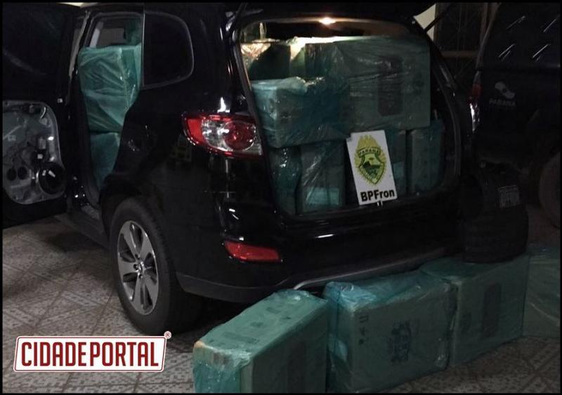 BPFRon em Operação Fronteira Blindada recupera um veículo roubado e apreende 50 caixas de cigarro em Guaíra