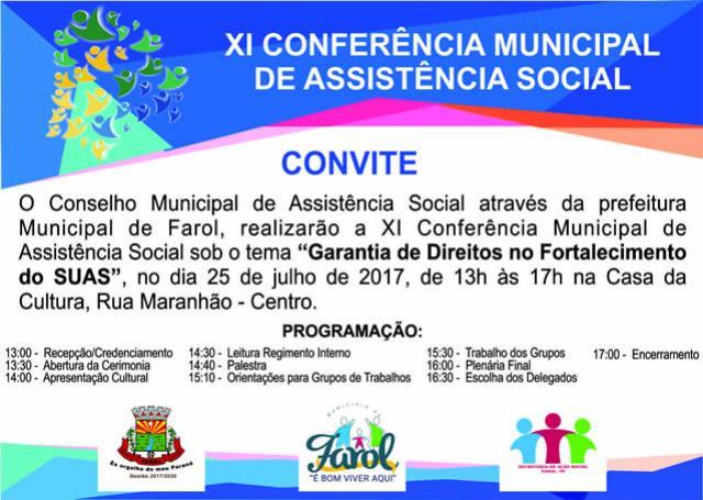 Conferência da assistência social de farol, tem data alterada