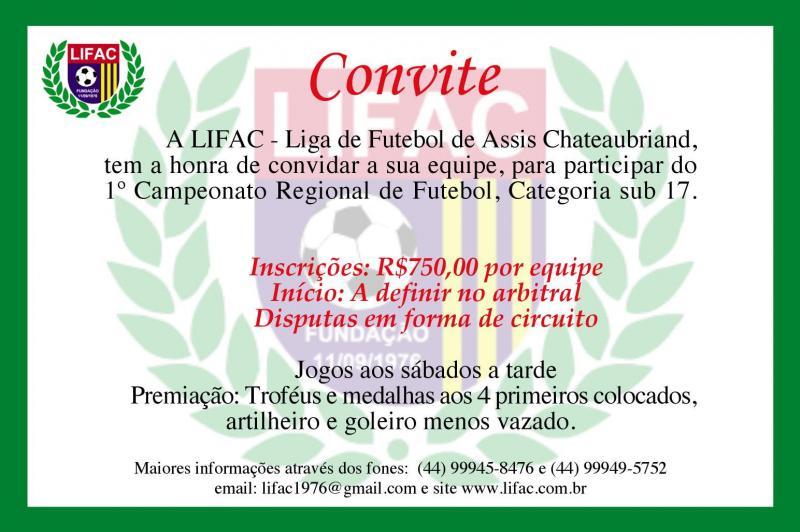 LIFAC abre inscrições para o Campeonato Regional sub 17