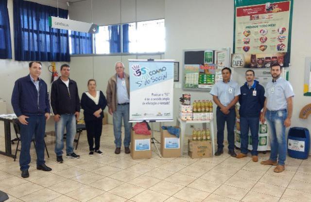 Secretaria de Ação Social e CRAS de Quarto Centenário recebem doações da COAMO