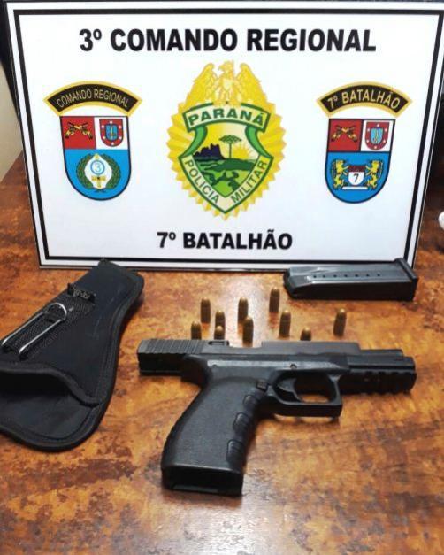 Policiais Militares do 7º BPM apreendem arma de fogo após abordagem em Goioerê