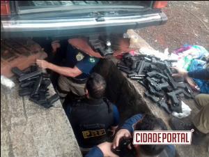 A Polícia Rodoviária Federal apreendeu 56 pistolas em Santa Terezinha de Itaipu