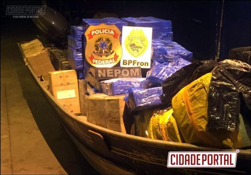 BPFRON E NEPOM apreendem embarcações e contrabando em Salamanca - Guaíra