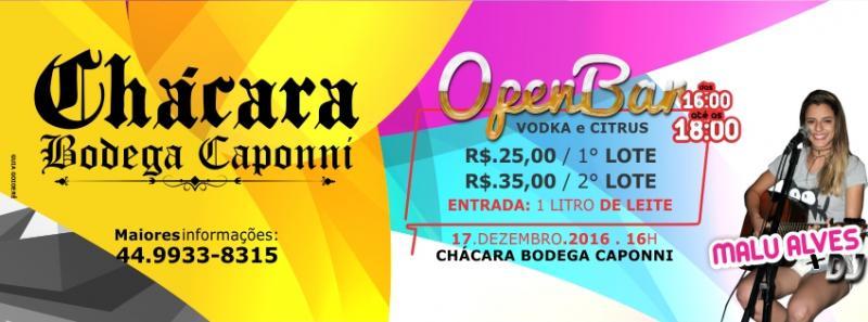 Chácara Bodega: Open Bar de Vodka e Citrus será realizado neste sábado, 17