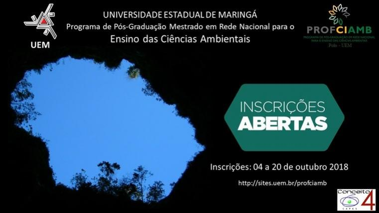 Abertas as inscrições para o Mestrado em Ciências Ambientais no CRG