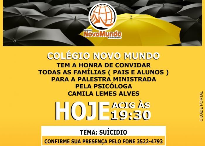 Hoje na Acig palestra sobre suicídio com a Psicóloga Camila Lemes, oferecimento Colégio Novo Mundo