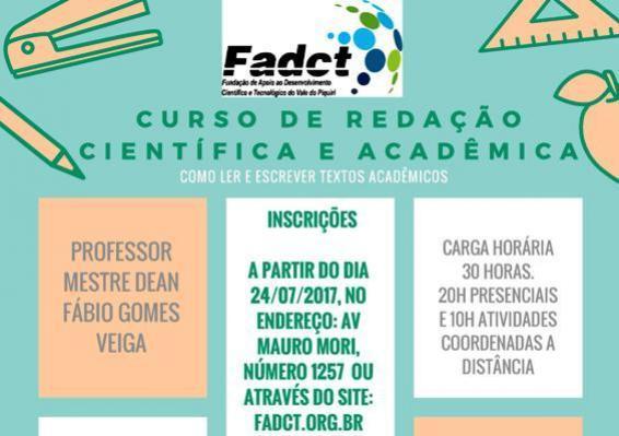 As inscrições para o curso de Redação Científica e Acadêmica serão liberadas apartir desta segunda-feira, na FADACT