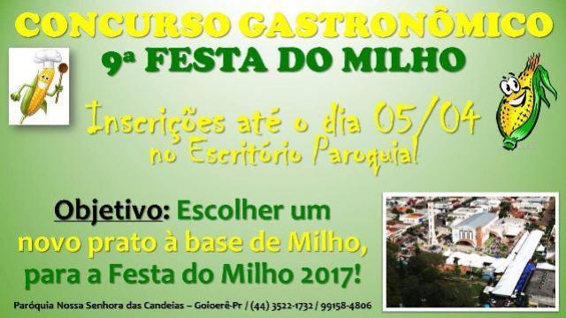 Concurso gastronômico - Novo prato à base de milho para a 9ª Festa do Milho 2017