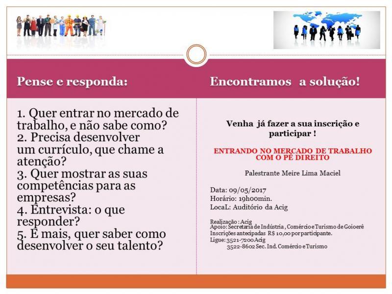 Inscrições para palestra Entrando no Mercado de Trabalho com o Pé Direito estão abertas na ACIG