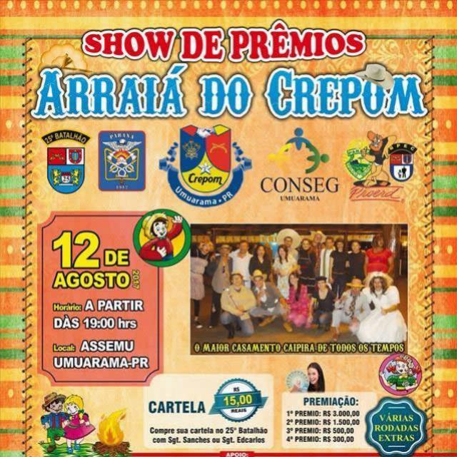 Arraiá do Crepom em Umuarama com Show de Prêmios