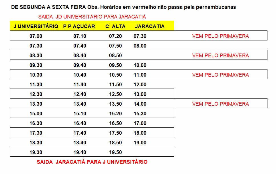 Expresso Mourãoense - Transporte Municipal - Jardim Universitário para Jaracatiá 2ª a 6ª Feira