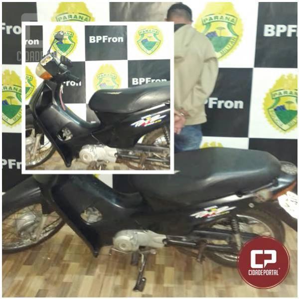 Policiais Militares do BPFron, Receita Federal e Exército Brasileiro, recuperaram uma motocicleta furtada