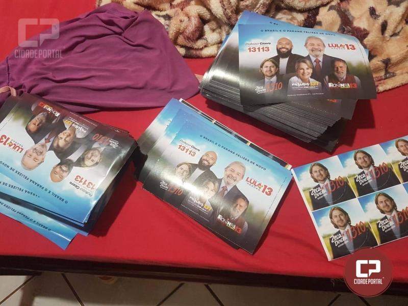 Material de propaganda eleitoral irregular contendo o Lula como candidato foi apreendido em Peabiru