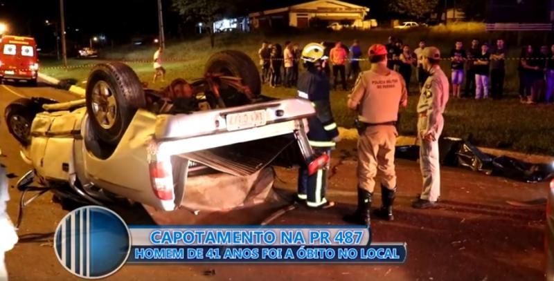 Capotamento no trevo próximo ao Posto Tio Patinhas em Campo Mourão deixa uma vítima fatal.
