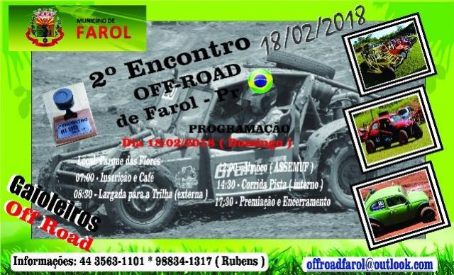 Neste domingo, 18, acontece o 2º Encontro Off-Road de Farol