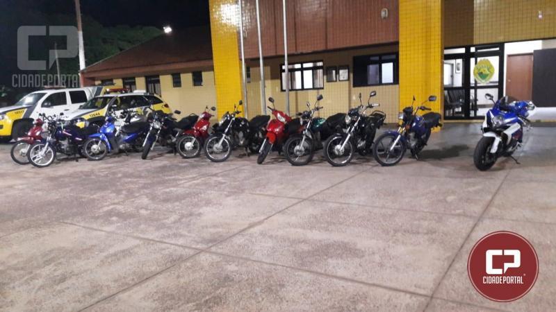 Polícia Militar e GM apreendem 12 motocicletas com irregularidades em blitz fiscalizatória na região central de Umuarama