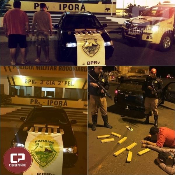 Polícia Rodoviária de Iporã prende 2 indivíduos e apreende veículo com entorpecentes