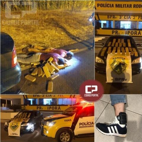 Dois moradores de Campo Mourão são preso pela PRE de Iporã com veículo carregado de drogas