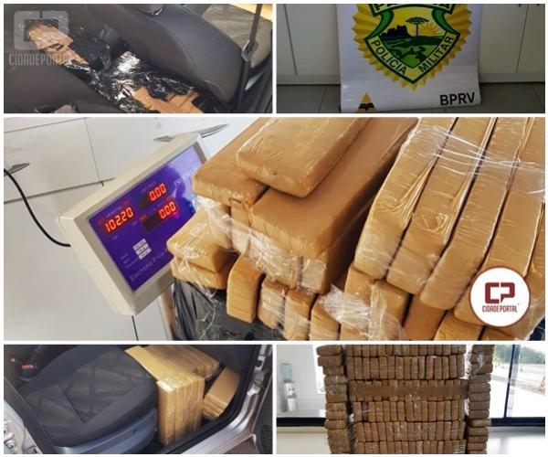 Posto Policial de Iporã apreende veículo com mais de 100 kg de maconha e prende condutor