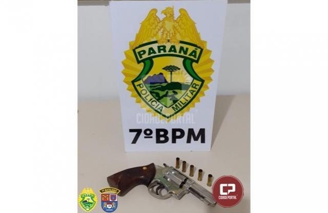 PM age rápido e apreende arma de fogo em posse de traficante