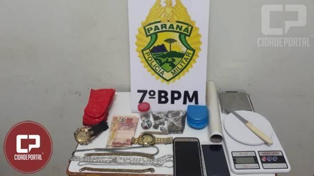 Policiais do 7º BPM encaminharam dois suspeitos por tráfico  de drogas em Cruzeiro do Oeste