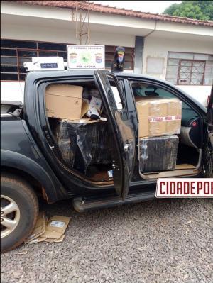 Polícia Militar apreende caminhonete com contrabando na PR-480 em Altônia após acompanhamento tático