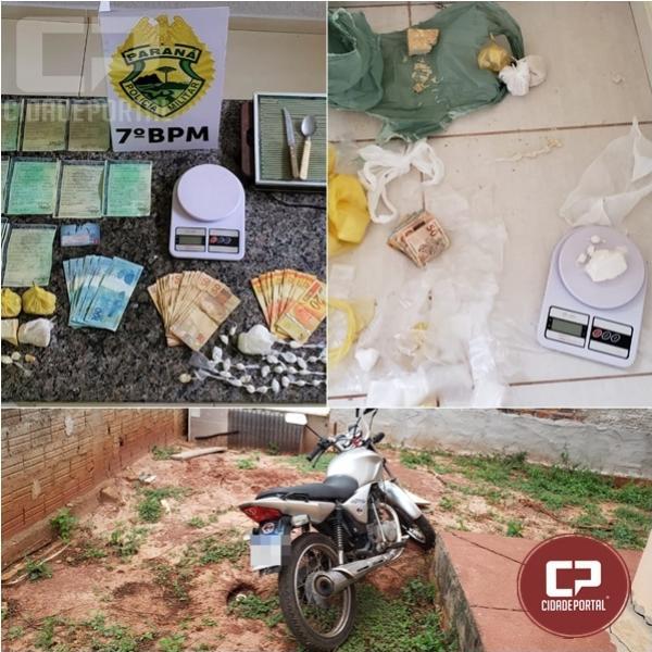 7º BPM apreende crack e cocaína e encaminha homem por suspeita de tráfico em Cidade Gaúcha
