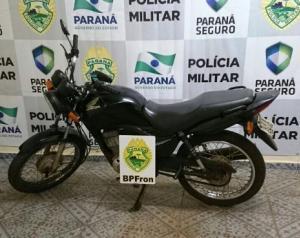 Polícia Militar através do BPFron recupera motocicleta furtada em Guaíra