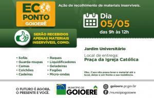 ECOPONTO será realizado no Jardim Universitário no próximo sábado, 05