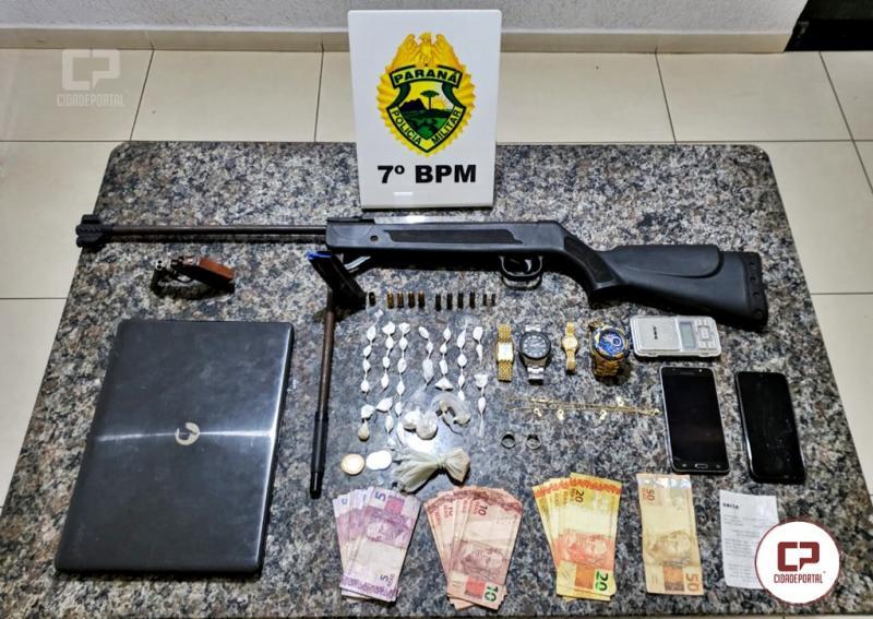 Polícia Militar do 7º BPM apreende arma de fogo, munições e drogas em Cidade Gaúcha
