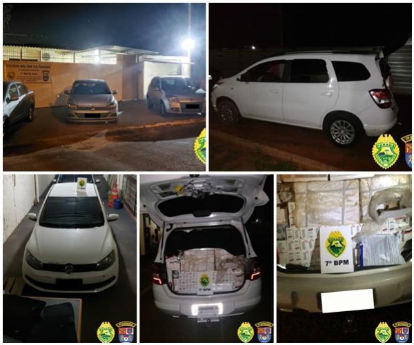 Cinco veículos carregados com contrabando foram apreendidos por policiais do 7º BPM no fim de semana