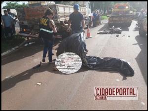 Motociclista perde a vida após colidir na trazeira de um caminhão