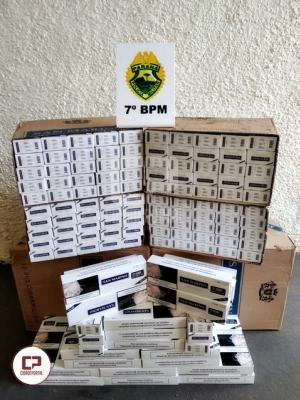 Veículo carregado com cigarros contrabandeados foi apreendido pela PM em Cidade Gaúcha