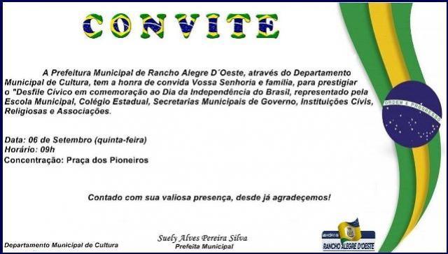 Desfile Cívico em Rancho Alegre do Oeste será nesta quinta-feira, 06, participe