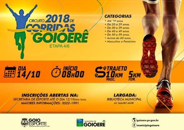 Inscrições abertas para a 4ª etapa do Circuito 2018 de Corridas de Rua de Goioerê