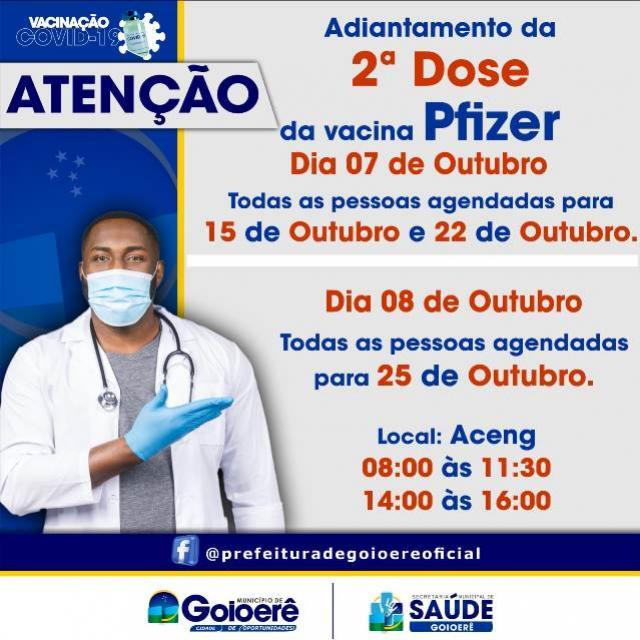 Saúde de Goioerê vai antecipar a segunda dose da vacina Pfizer