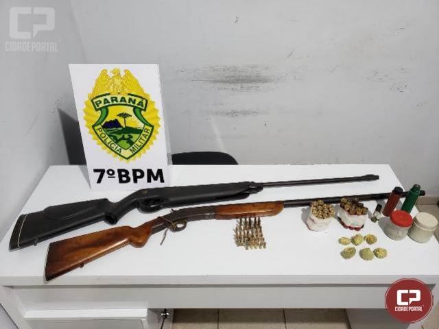 7º BPM apreende duas armas de fogo, munições e drogas em Rondon
