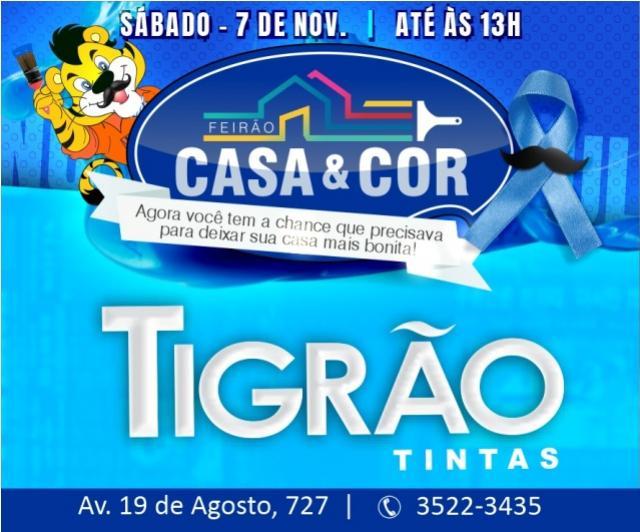 Feirão Casa & Cor é na Tigrão Tintas de Goioerê com descontos de até 50% somente neste sábado, 07