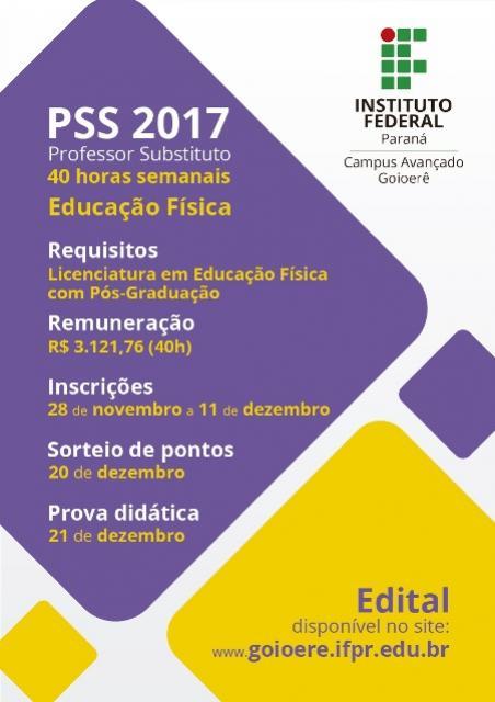 IFPR - Campus Avançado Goioerê continua com Inscrições para seleção de professor substituto