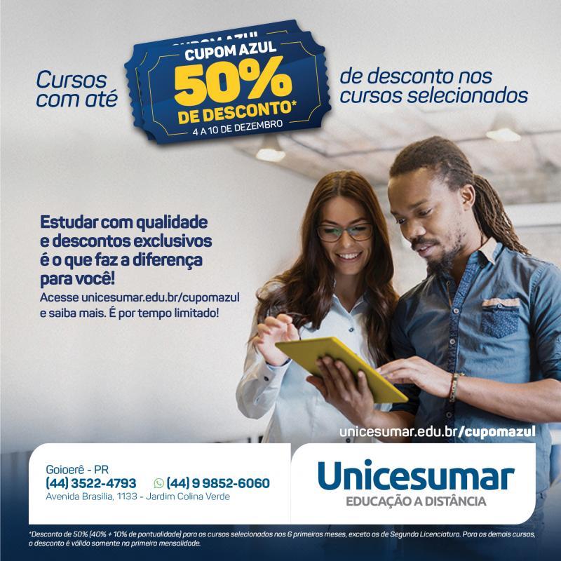 Unicesumar oferece 22 cursos superiores com 50% de desconto nas mensalidades, promoção válida de 04 a 10 de dezembro