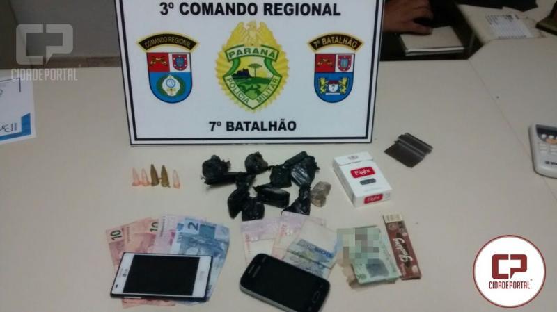 Polícia Militar de Goioerê durante patrulhamento apreende dois menores e um maior por posse de drogas