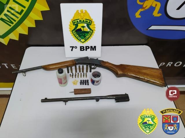 Equipe ROTAM apreende arma de fogo e diversas munições em Cruzeiro do Oeste