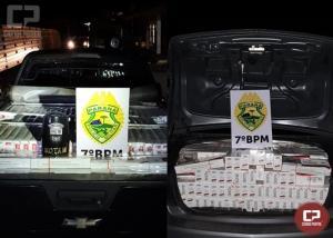 7º BPM apreende dois veículos carregados com cigarros em Tapejara