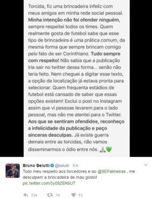 Cantor Belutti pede desculpas à torcida do Palmeiras após postagem polêmica
