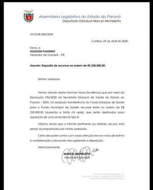 Vereador Agilson Flausino consegue emenda de 230 mil reais com Deputado Marcel Micheletto para a saúde de Goioerê