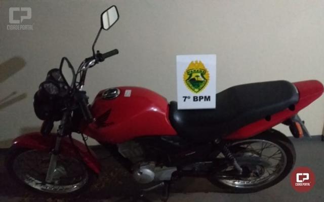 Polícia Militar recupera em Cidade Gaúcha motocicleta que foi furtada em Maringá