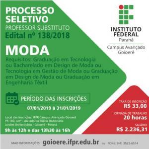 IFPR de Goioerê abre inscrições para processo seletivo de professor substituto na área de moda