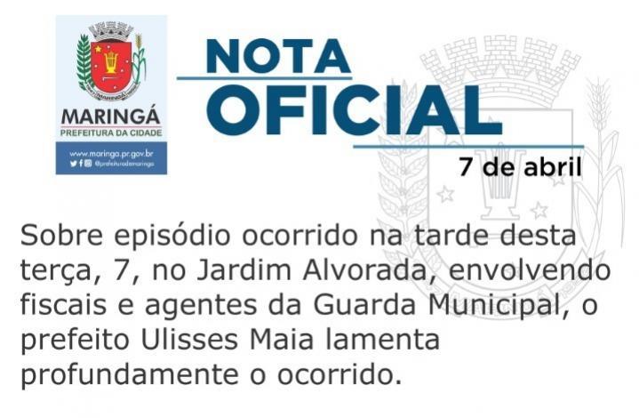 Em nota oficial a prefeitura municipal de Maringá repudia episódio de violência