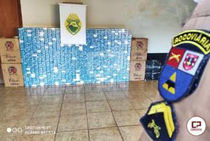 PRE e PM de Goioerê apreendem veículo carregado com mais de mil pacotes de cigarros contrabandeados
