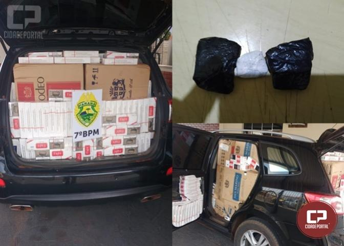 7º BPM apreende drogas e veículo carregado com contrabando